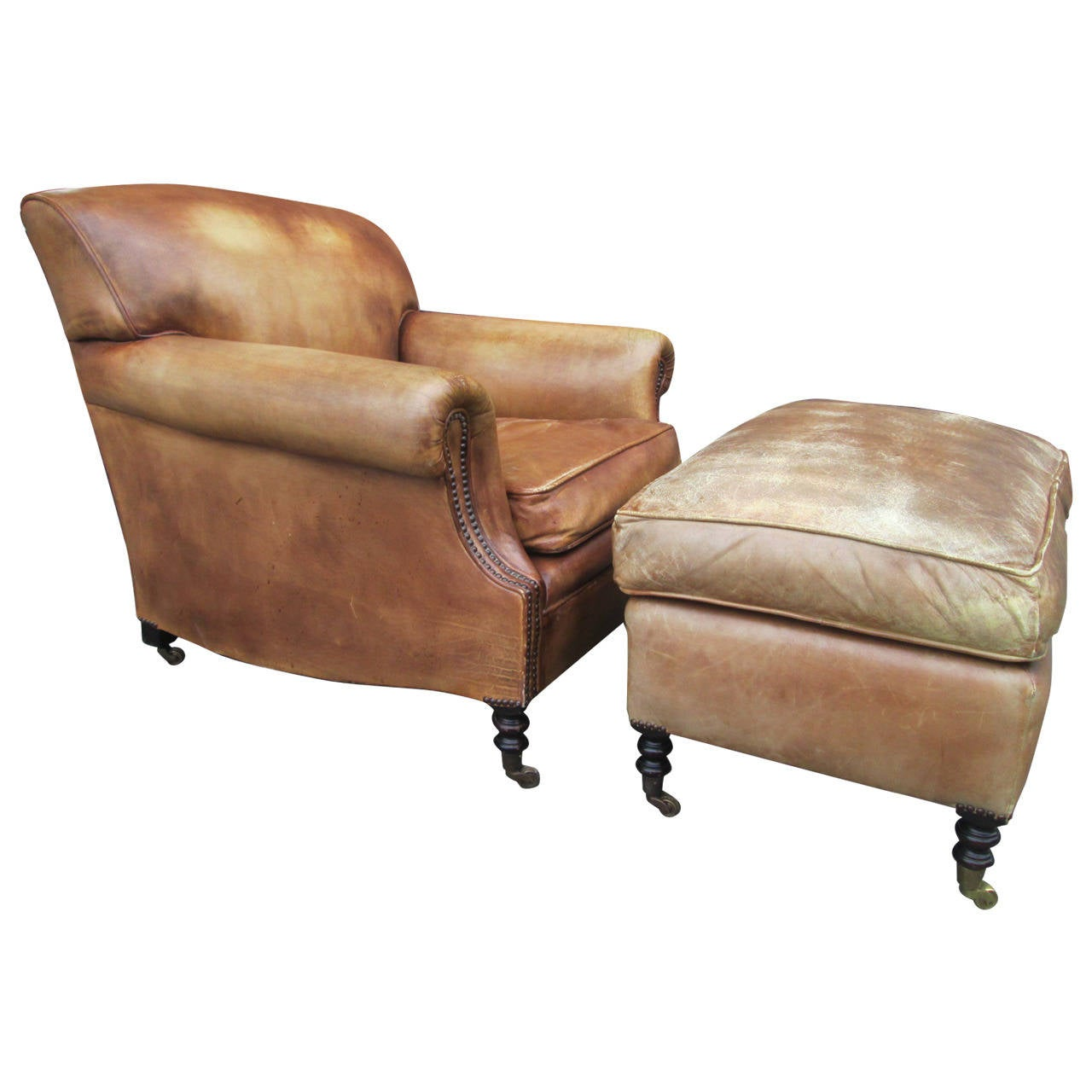 Elegant Leather Lounge Chair And Ottoman By George Smith 1