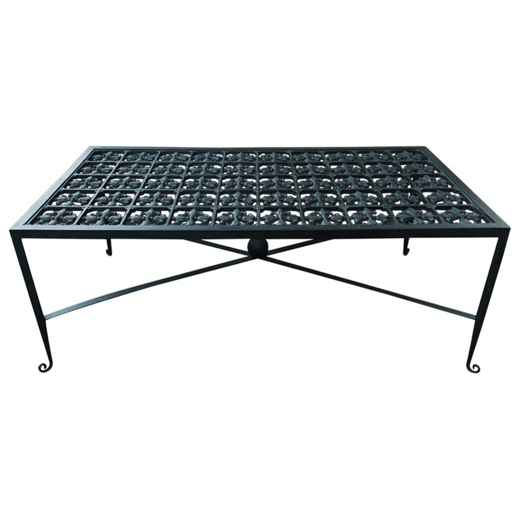 Decorative patinated wrought iron coffee table for sale at 1stdibs Wrought iron coffee tables