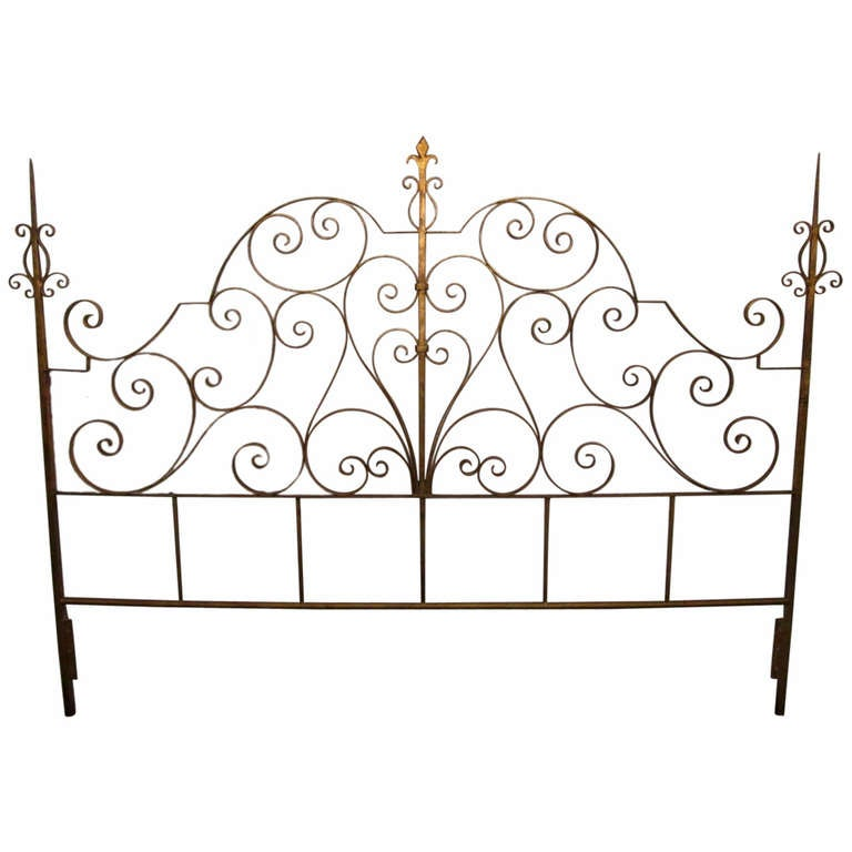 Wrought Iron Italian Gold Gilt King Size Headboard At 1stdibs