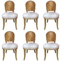 Six Italian Decorative Venetian Shell Back Dining Chairs
