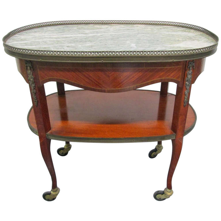 French Marble-Top, Two-Tier Rolling Bar Cart For Sale At