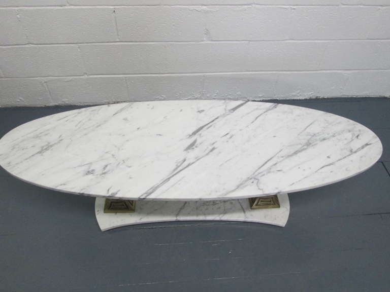 Italian Marble And Brass Oval Top Coffee Table For Sale At 1stdibs