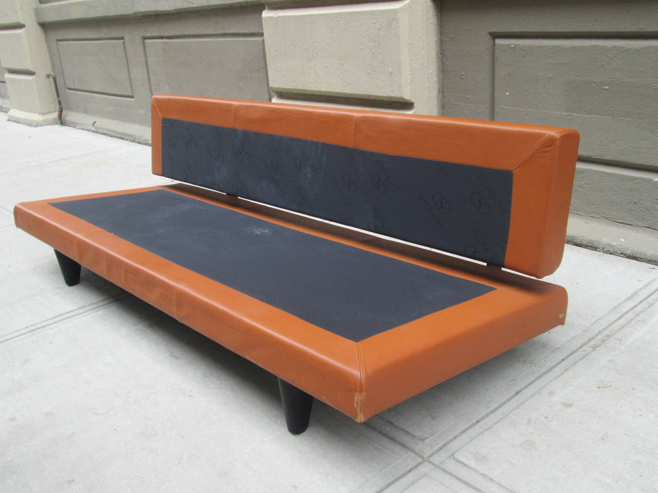 Mid-Century Modern Leather Convertible Sofa by De Sede