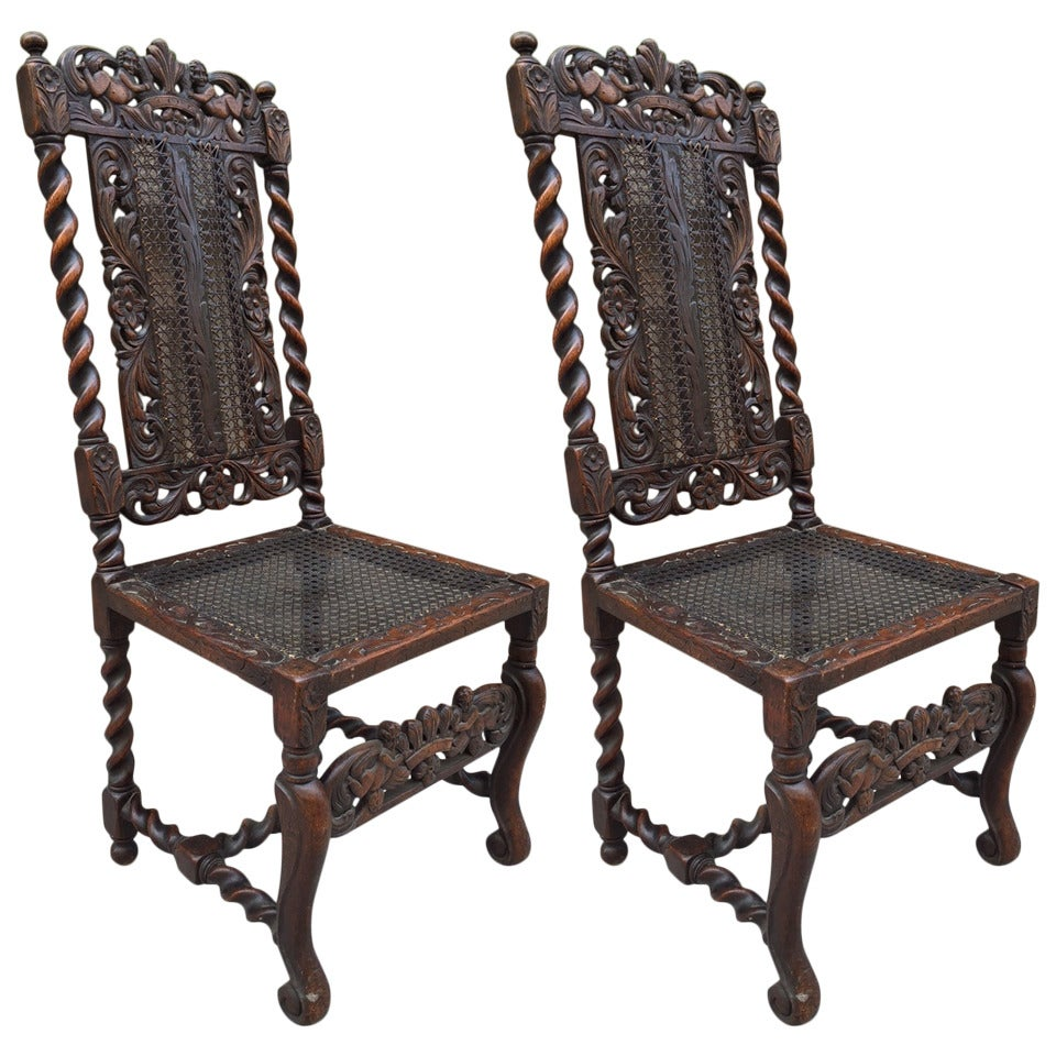Pair Of English Antique Oak Barley Twist Chairs At 1stdibs
