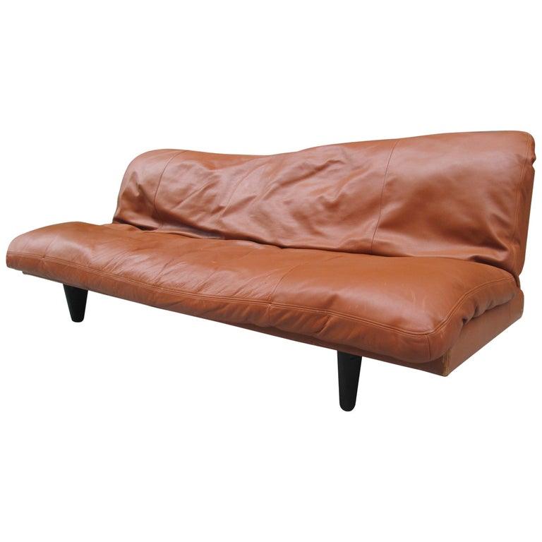 Leather Convertible Sofa by De Sede