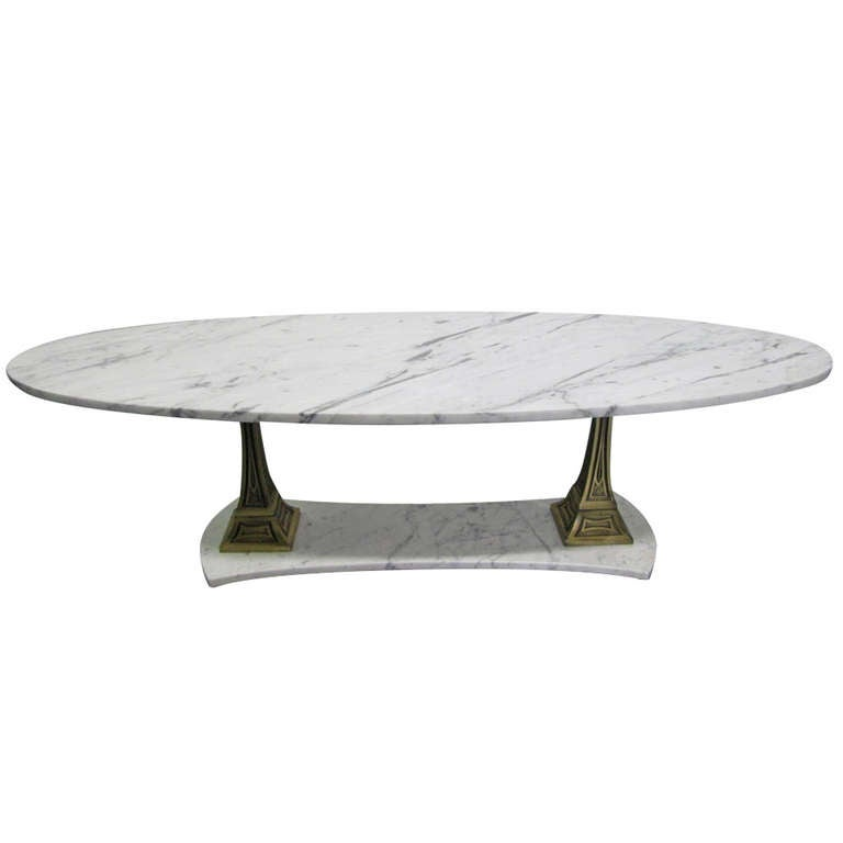 Italian Marble and Brass Oval Top Coffee Table