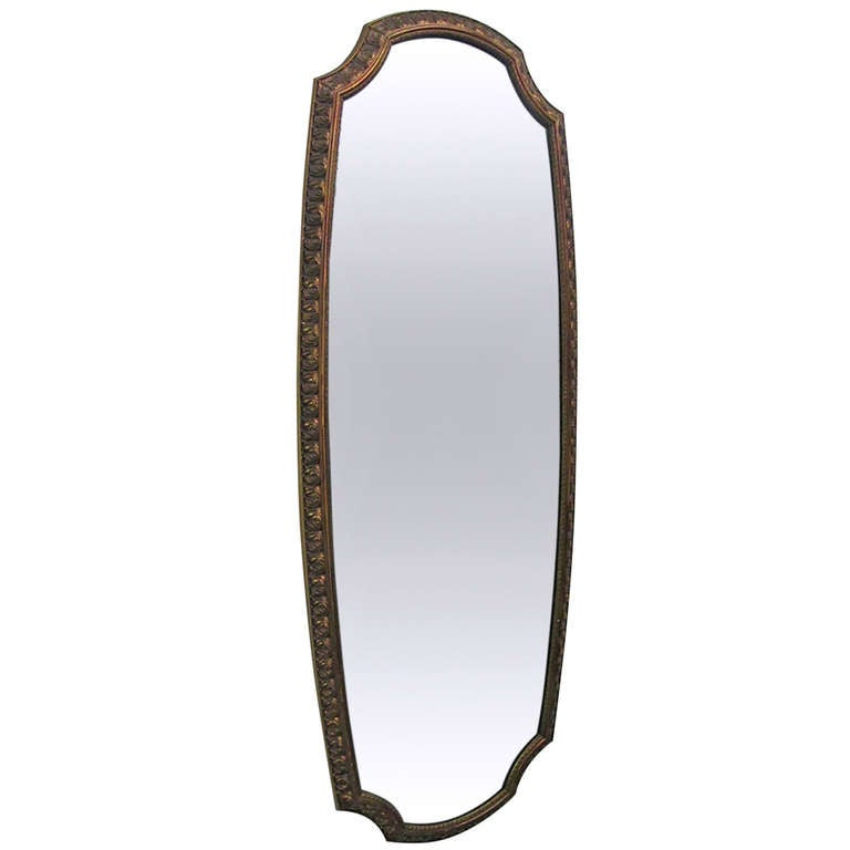 Narrow gold gild mirror at 1stdibs for Narrow mirror