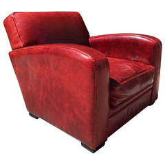 French Leather Club Chair Manner of Dominique
