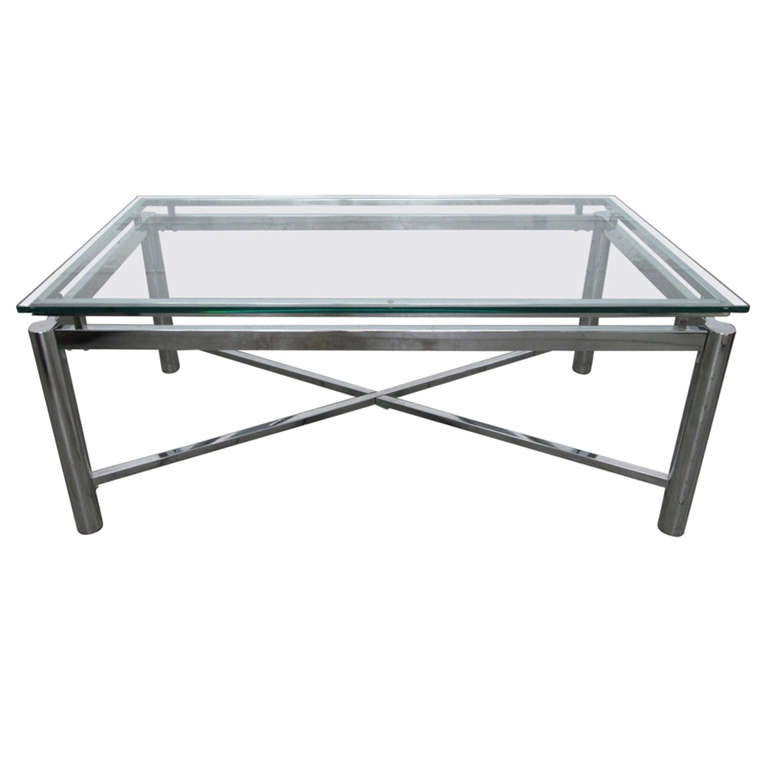 Chrome X Base And Glass Top Coffee Table At 1stdibs