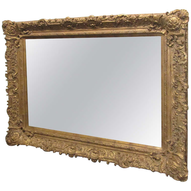 Large gold carved mirror for sale at 1stdibs for Big mirrors for sale