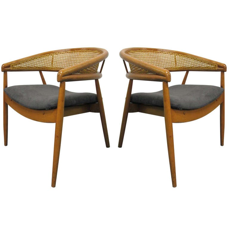 Used Cane Sofa For Sale In Bangalore: Pair Of James Mont Cane Chairs For Sale At 1stdibs