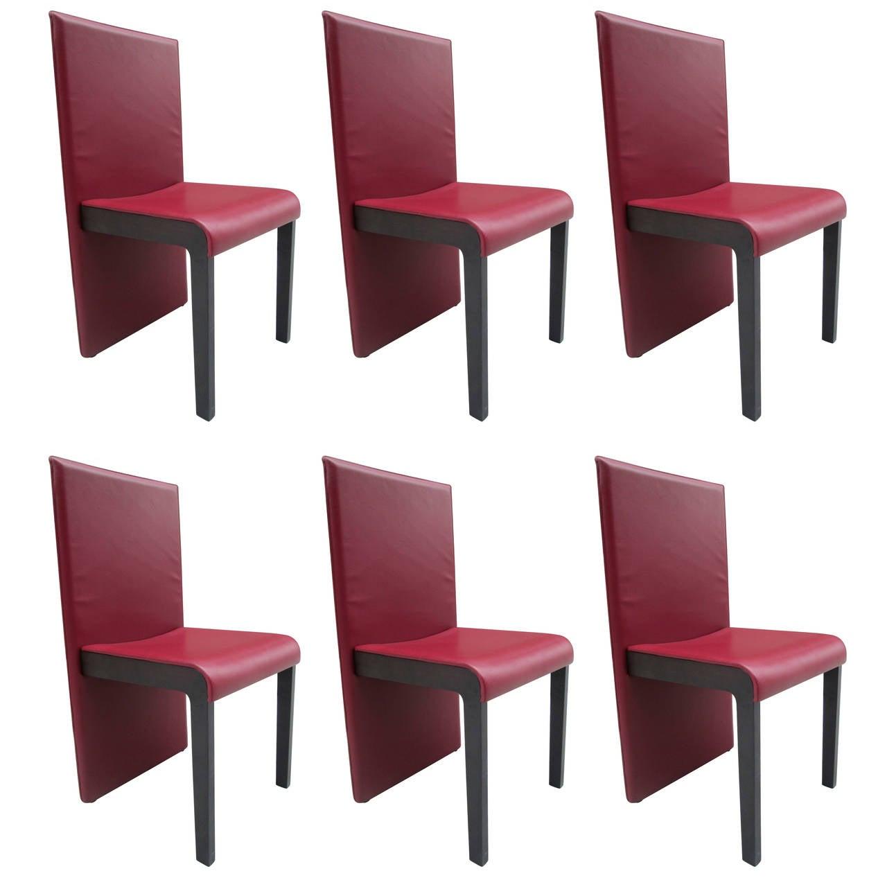 Leather sofa by poltrona frau at 1stdibs - Six Leather Dining Chairs By Poltrona Frau 1