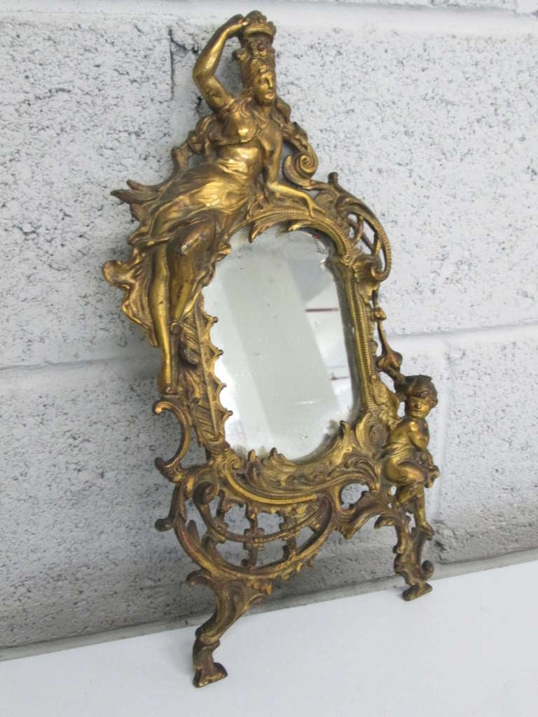 Small antique gold gilt mirror w cherub at 1stdibs for Small gold mirror