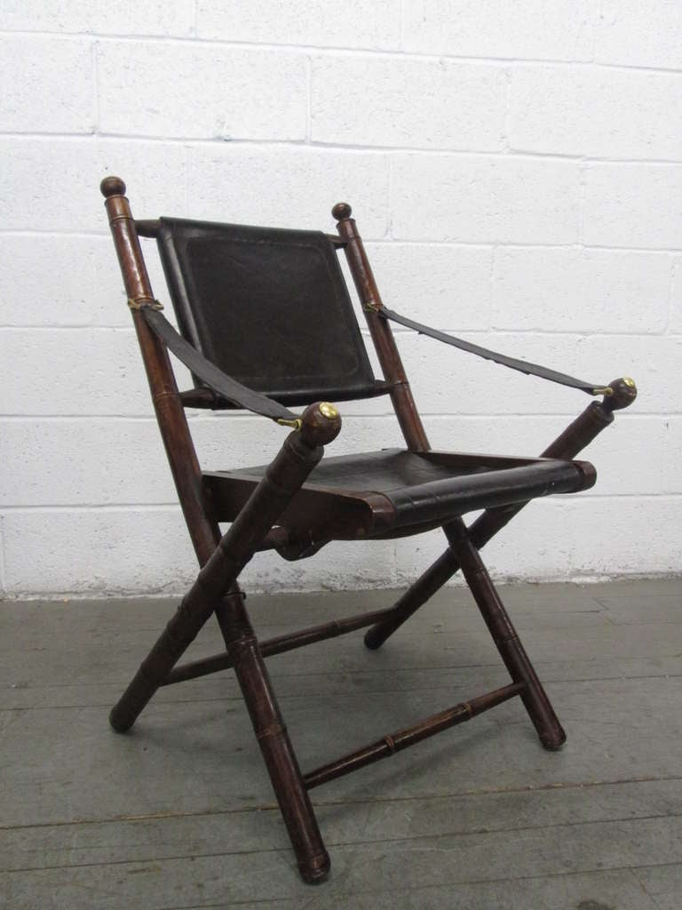 Pair Leather Faux Bamboo Hunting Folding Chairs at 1stdibs