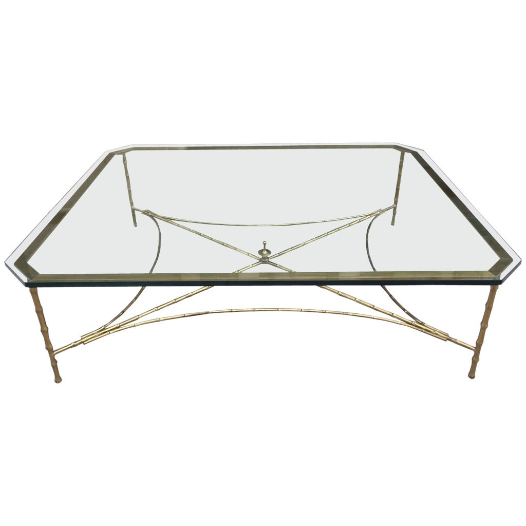 Large Bronze Faux Bamboo Coffee Table By Maison Bagu S At 1stdibs