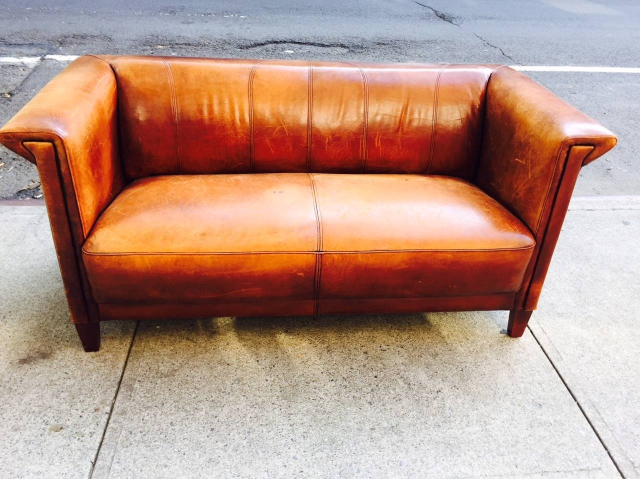 Leather Couch Restoration Vintage Italian Distressed Leather Sofa At 1stdibs