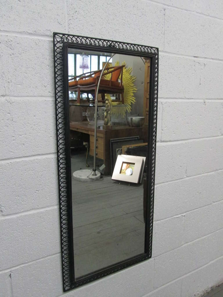 Pair Of Wrought Iron Italian Decorative Framed Mirrors For