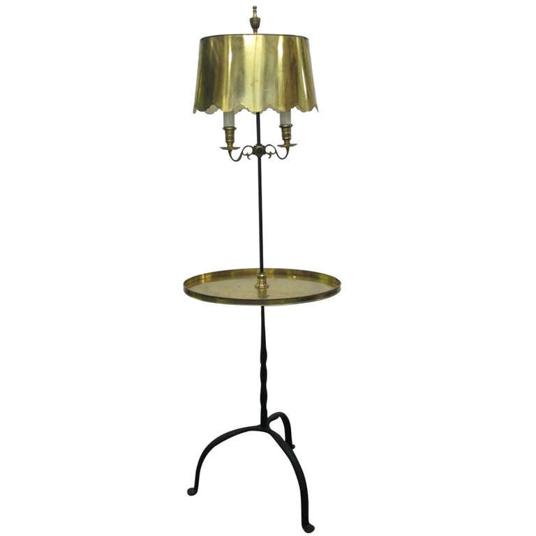 antique french wrought iron and brass floor lamp at 1stdibs. Black Bedroom Furniture Sets. Home Design Ideas