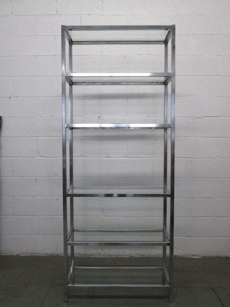 Chrome Etagere W Glass Shelves At 1stdibs