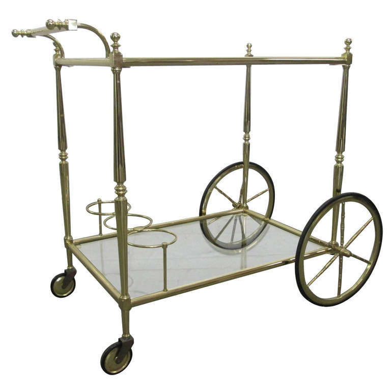 French Two Tiered Brass Bar Cart