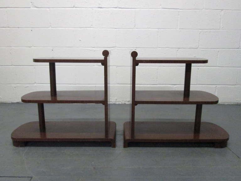 Pair Art Deco streamline end tables.