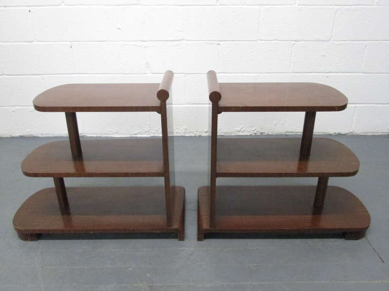 Pair of Art Deco Streamline Three-Tier End Tables In Good Condition For Sale In New York, NY