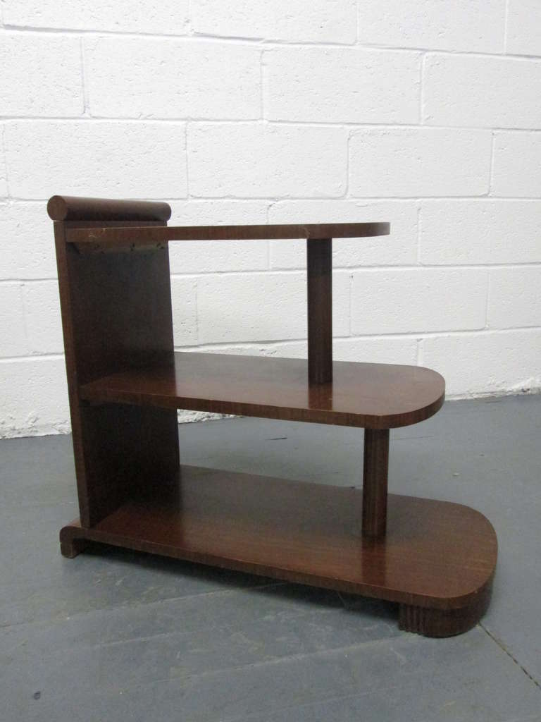 Mid-20th Century Pair of Art Deco Streamline Three-Tier End Tables For Sale