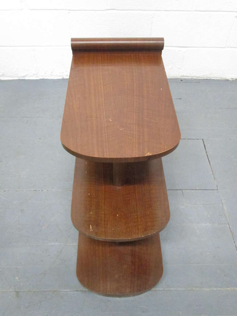 Pair of Art Deco Streamline Three-Tier End Tables For Sale 2