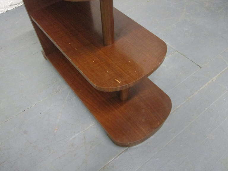 Pair of Art Deco Streamline Three-Tier End Tables For Sale 3