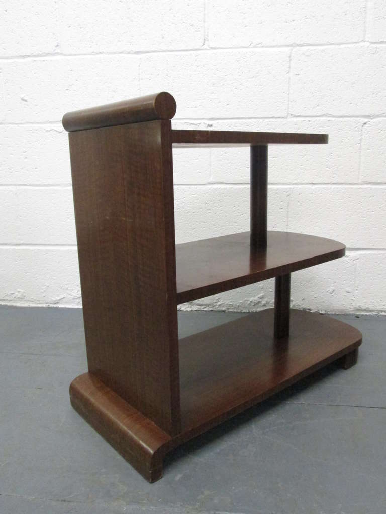 Walnut Pair of Art Deco Streamline Three-Tier End Tables For Sale