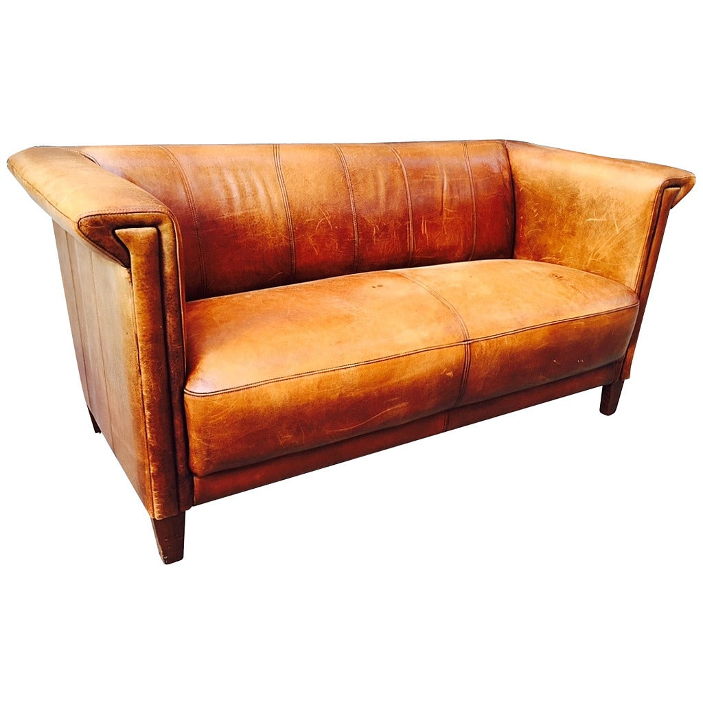 Vintage Italian Distressed Leather Sofa For Sale