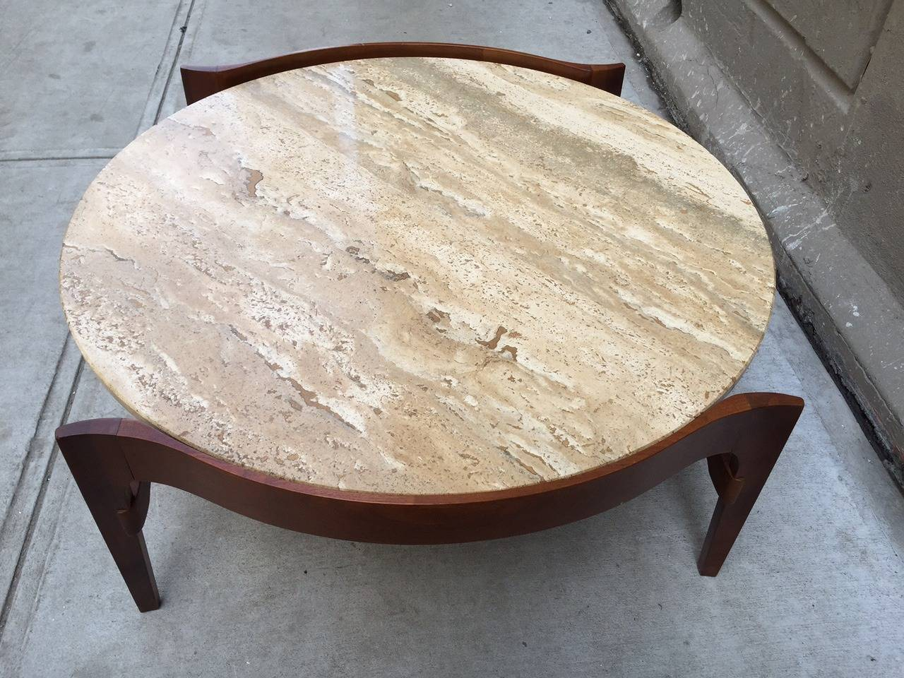 Coffee Table With Travertine Top 3