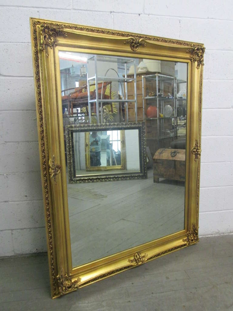 Large Gold Cream Full Face Adult Carnival Stick Mask: Large Gold Gilt Mirror At 1stdibs