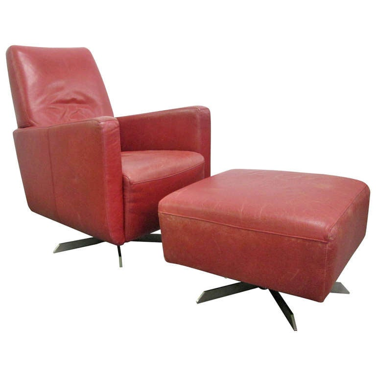 italian leather swivel chair and ottoman at 1stdibs