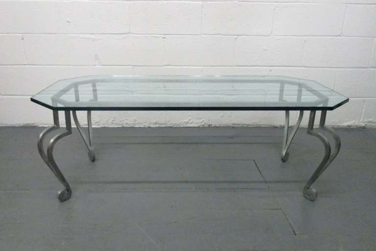 French wrought iron coffee table by maison ramsay for sale for Wrought iron coffee table for sale