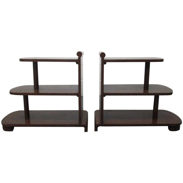 Pair Of Art Deco Streamline Three Tier End Tables 1