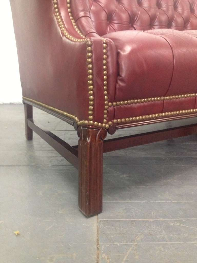 Chesterfield Leather Sofa Chippendale Style At 1stdibs