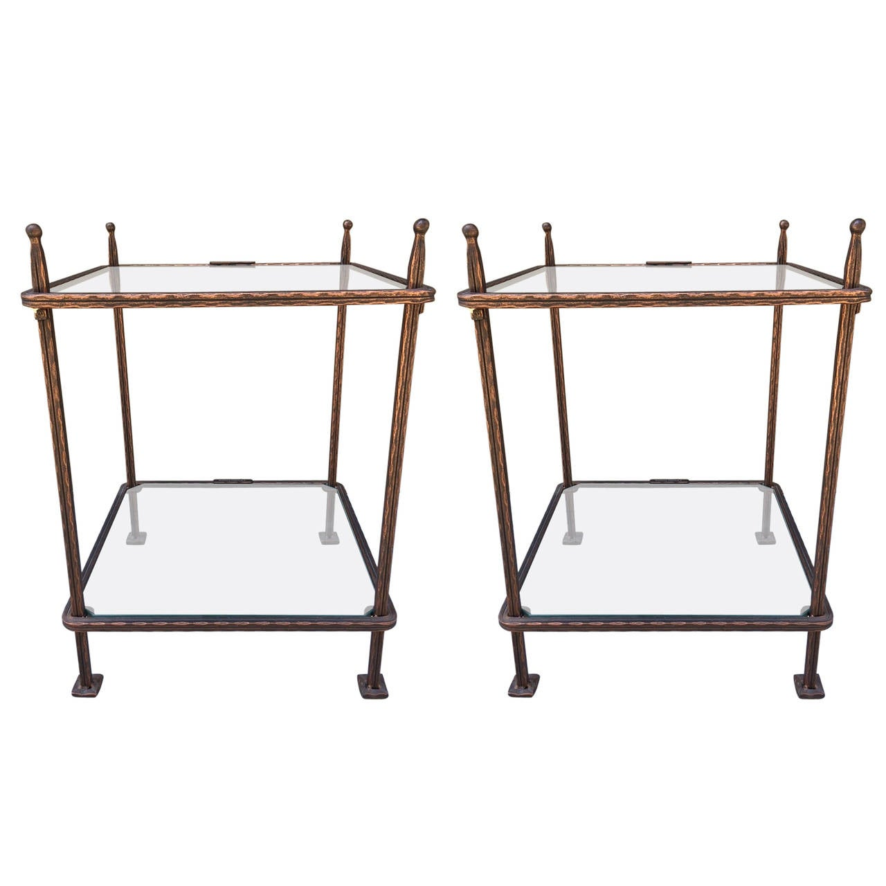 Pair Of Bronzed Iron Side Tables By Claudio Rayes 1