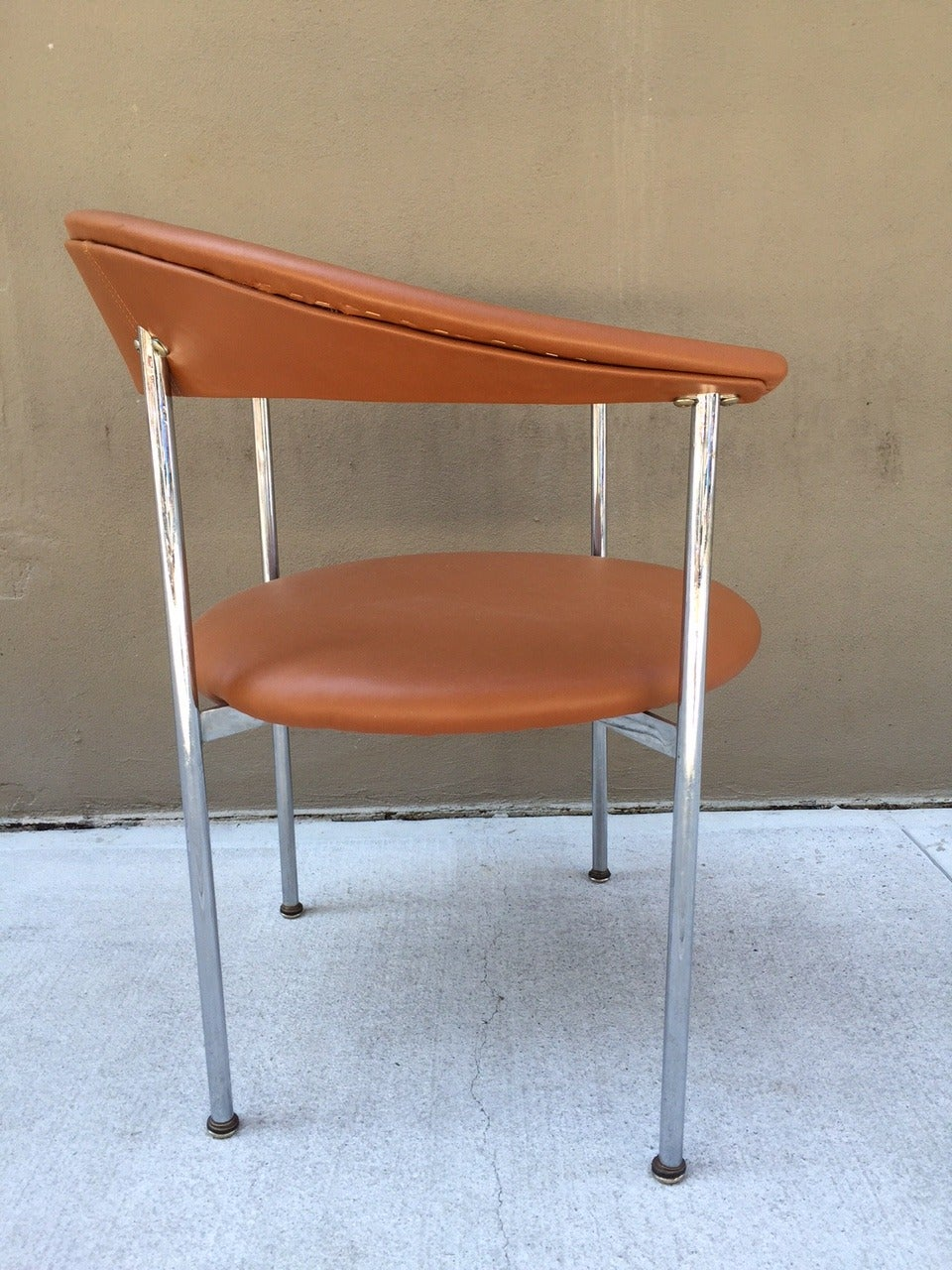 Polished Mid-Century Modern Chrome Side Chair For Sale