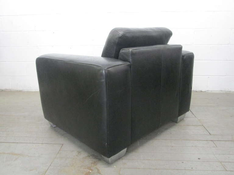Oversized Italian Leather Chair For Sale at 1stdibs