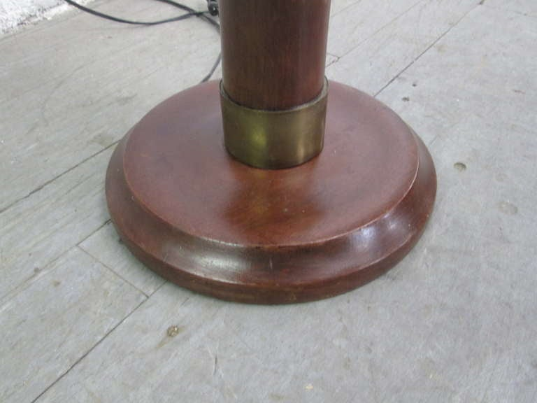 French, Solid Mahogany and Bronze Floor Lamp For Sale 1