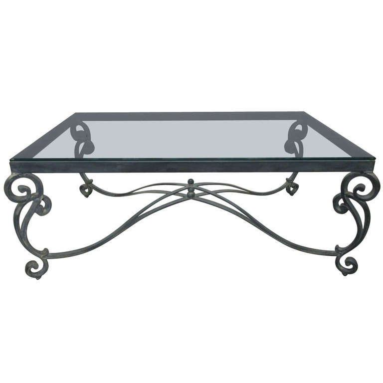 French wrought iron coffee table for sale at 1stdibs for Wrought iron coffee table for sale