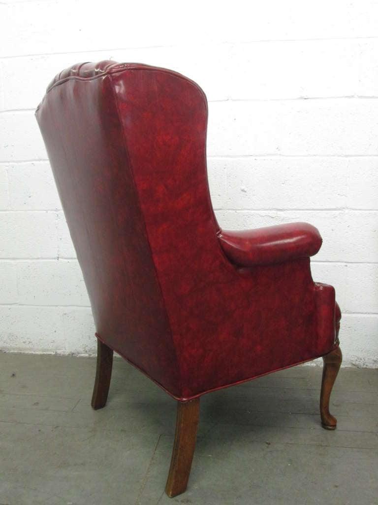 Pair Of Queen Anne Style Tufted Wingback Chairs For Sale