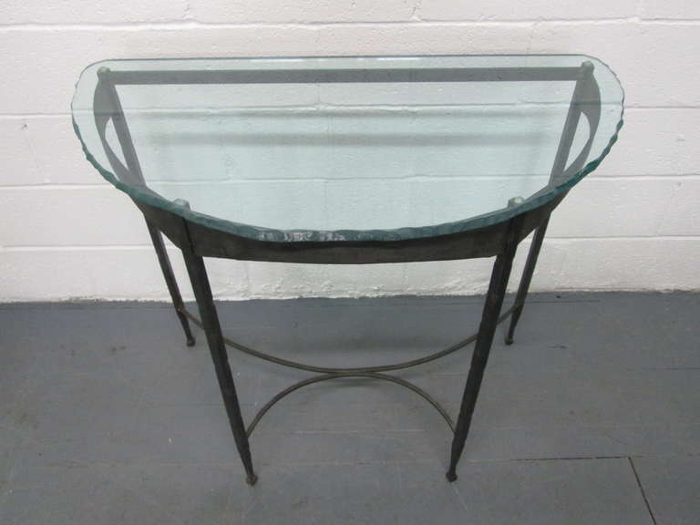 Wrought iron and glass top demilune console tables for for Metal console tables glass top