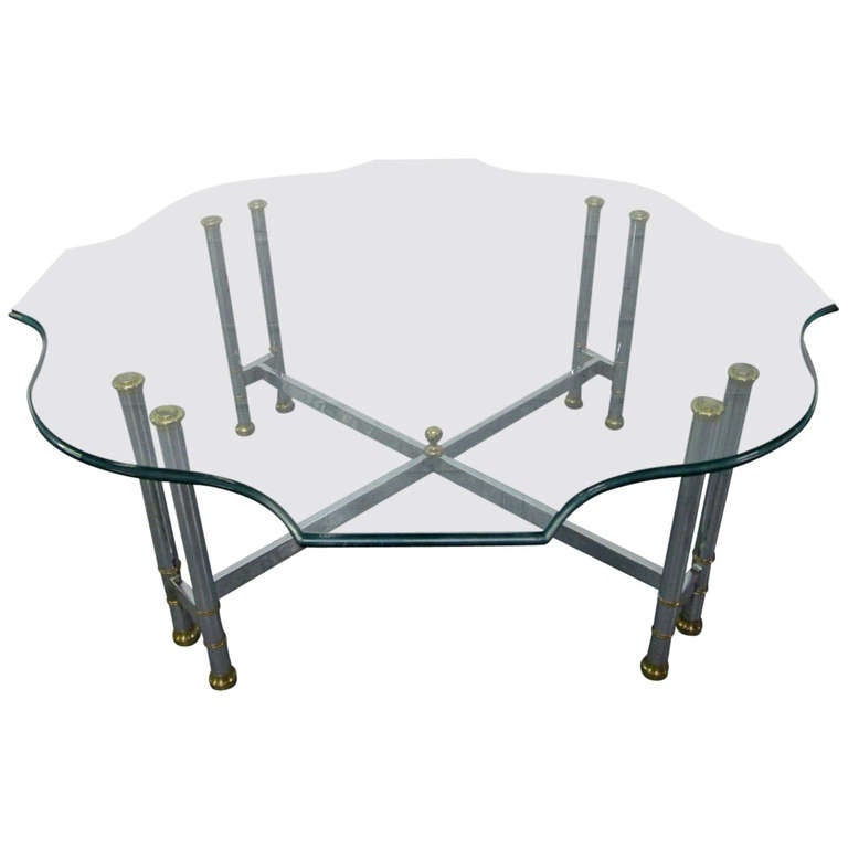 Steel and Brass Coffee Table, Maison Jansen Style