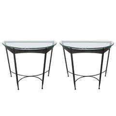 Wrought Iron and Glass-Top Demilune Console Tables