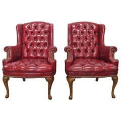Pair of Queen Anne Style Tufted Wingback Chairs