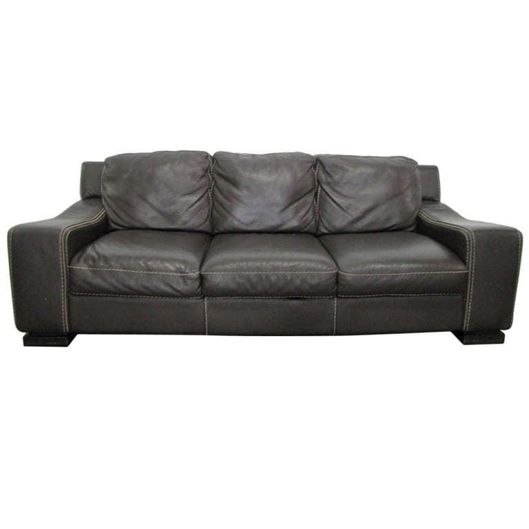 Italian Leather Hand Stitched Sofa At 1stdibs