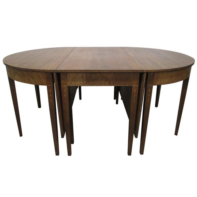 Banquet Dining Table: Hepplewhite Style Inlaid, Demilune Three-Part Banquet