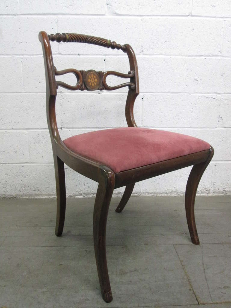 Six Rosewood English Regency Style Dining Room Chairs For